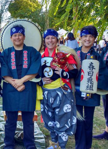 Karen and Nicole with Tamaribuchi sensei  on their annual pilgrimage to Sado Island in 2016 to participate in the Kasuga Ondeko Matsuri.