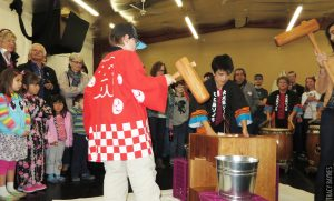 Demonstration of rice-pounding at a Japanese new year festival